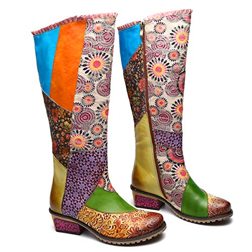 Image of gracosy Knee Boots Women, Knee High Boots Leather Flat Long Bootie Splicing Pattern Tall Boots