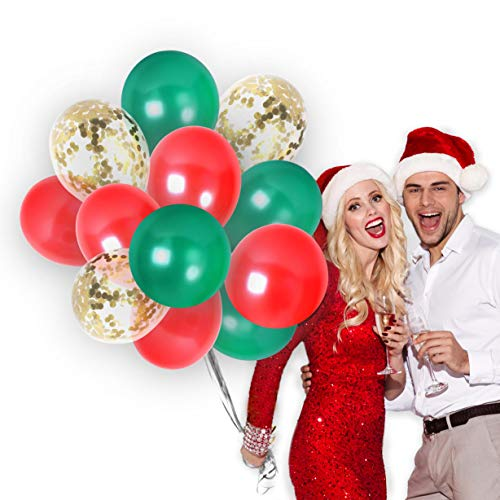 Merry Christmas Balloons Party Decorations in Metallic Red and Green Balloons Gold Confetti Latex Balloon Bulk Pack for Arch Column Stand New Year School Office