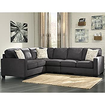Flash Furniture Signature Design by Ashley Alenya 3-Piece LAF Sofa Sectional in Charcoal Microfiber  sc 1 st  Amazon.com : beige microfiber sectional - Sectionals, Sofas & Couches