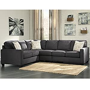 Flash Furniture Signature Design by Ashley Alenya 3-Piece LAF Sofa Sectional in Charcoal Microfiber