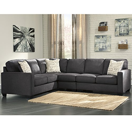 Signature Design by Ashley Alenya 3-Piece LAF Sofa Sectional in Charcoal Microfiber