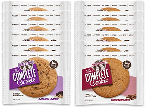 Lenny & Larry's The Complete Cookie - 6 Oatmeal Raisin and 6 Snickerdoodle (Pack of 12)