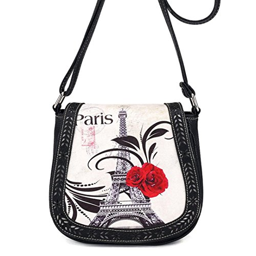 GBSELL Fashion Women Lady Eiffel Tower Rose Cross-Body Bag Shoulder Bag (Black)