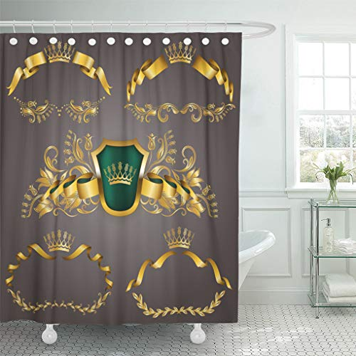 Emvency Shower Curtain Gold VIP Monograms for Graphic on Gray Elegant Graceful Ribbon Filigree Border Crown in Vintage Shower Curtains Sets with Hooks 72 x 72 Inches Waterproof Polyester Fabric ()