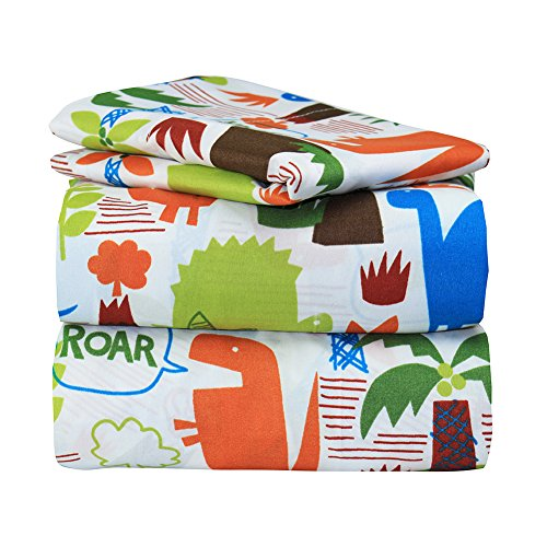 Dor Extreme Super Soft Luxury Twin Boys Dinosaur Land Bed Sheet Set in 8 Different Prints, 3 Piece Sheet Set (Dinosaur Land) (Jungle Twin)