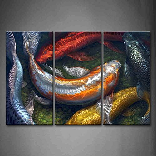 First Wall Art - Colorful Koi Swimming In Water Wall Art Painting The Picture Print On Canvas Animal Pictures For Home Decor Decoration (Fish Oil Paintings)