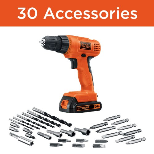 BLACK+DECKER LD120VA 20-Volt Max Lithium Drill/Driver with 30 Accessories - Orange