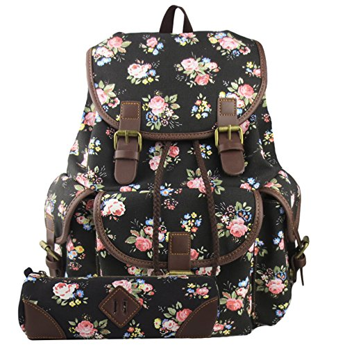 L.S.Risunup Casual Backpack for Teenage Girls College Cute Travel Drawstring Canvas School Bags Pencil Case 2PCS Set Black Floral