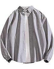 Herenhemd voor herfst Casual effen kleur shirt met lange mouwen Dunne jas Losse match Plus-maat