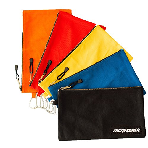 Canvas Tool Pouch with Zipper, 5 Pack, Utility Organization Bags, Heavy Duty Metal Zipper and Carabiner, by Angry Beaver, Black, Yellow, Red, Blue and (Large Tool Pouch)