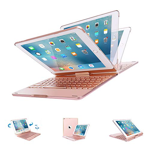 VANKY Fit iPad Pro 10.5 Keyboard Case,360 Rotatable 7 Backlit Colors Smart Wake/Sleep Wireless Keyboard Ultrathin, Aluminium Fit iPad Pro 10.5 Model A1701/A1709 (Rose Gold)