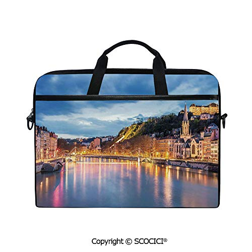 Personalized Laptop Bag 14-15 Inch Messenger Bag View of Saone River in Lyon City at Evening France Blue Hour Historic Buildings Shoulder Sleeve Case Tablet Briefcase