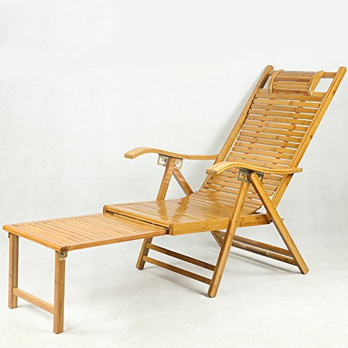 Rocking Chairs MEIDUO 5 Levels Adjustable Chaise Bamboo Lounge Chair Outdoor Folding Lounge Chair Chaise Lounge Chair Recliner Patio Pool Sun Footstool Extension (Color : Load-bearing (Bamboo Recliner Chair)