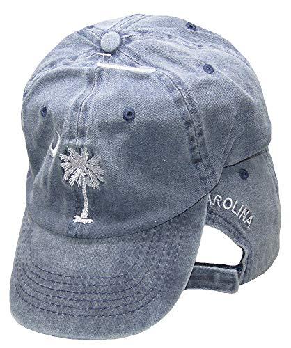 South Carolina Baseball Hats - South Carolina SC Palmetto Crescent Moon Blue Washed Embroidered Ball Cap Hat
