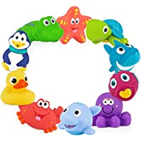 Nuby 10-Pack Little Squirts Fun Bath Toys, Assorted...