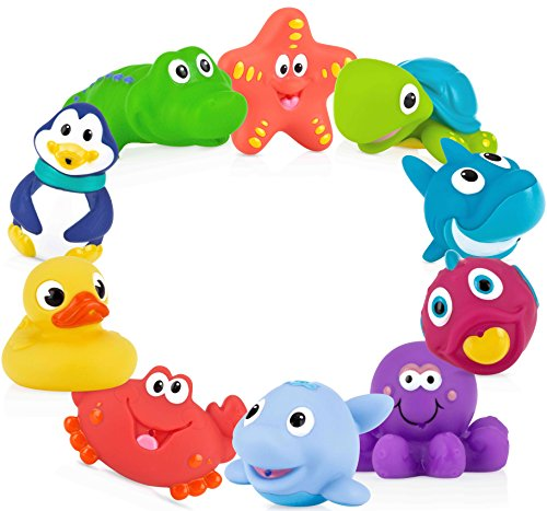 Nuby 10-Pack Little Squirts Fun Bath Toys, Assorted (Bright Eyes Shark)