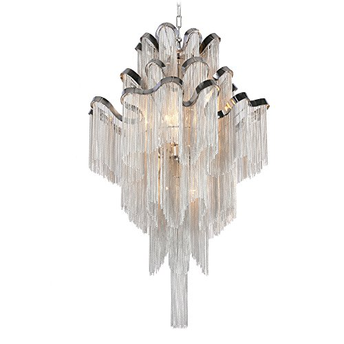 (DEARLAN Chandeliers Modern Contemporary Chandelier 8 Lights Island Aluminum Chain Pendant Ceiling Lighting Fixture for Dining Room Living Room Bedroom Hotel Hallway W23.6