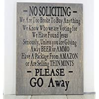 No Soliciting Sign, No Soliciting, Wood Sign, Beer Sign, Porch Sign, Outdoor Sign, Fathers Day Gift, Race Fan, Home Decor, Man Cave