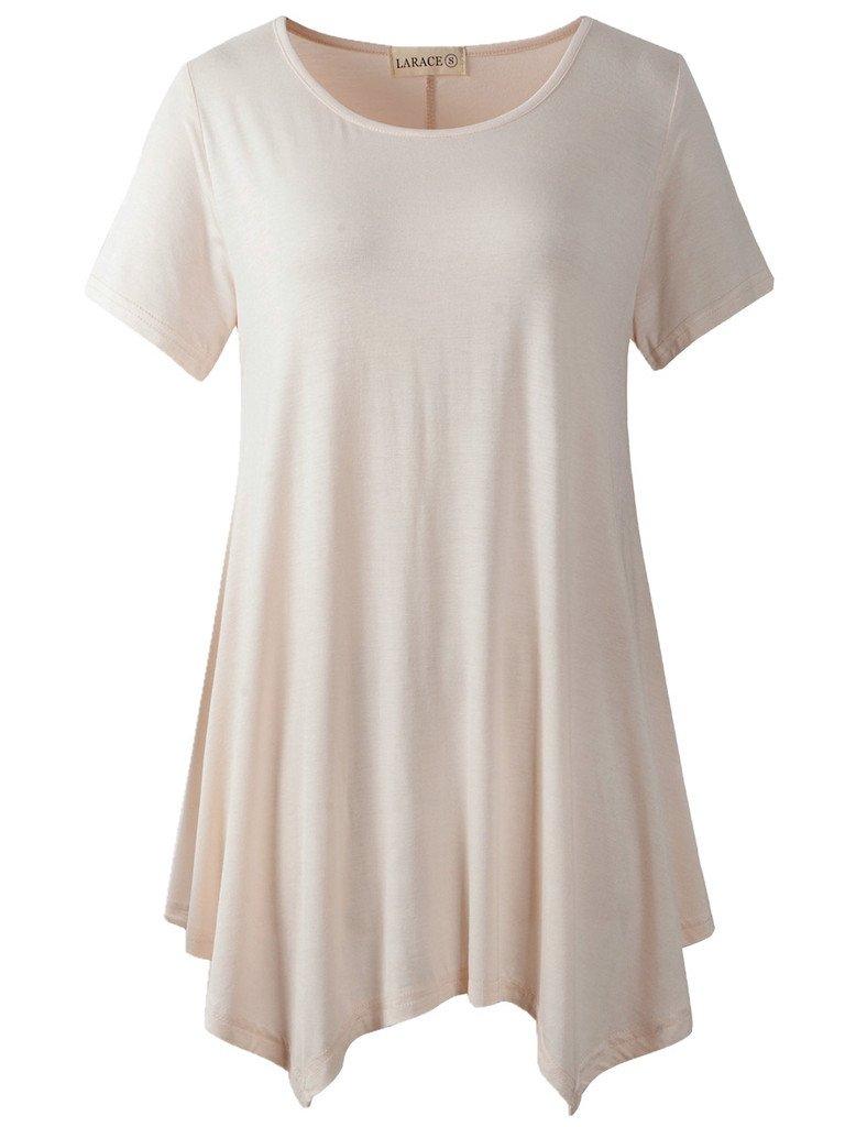 LARACE Womens Swing Tunic Tops Loose Fit Comfy Flattering T Shirt (M, Beige)