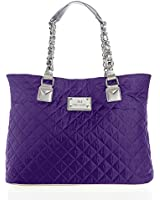 Joy Mangano Paris Chic Quilted Tote with Metal Accents-purple