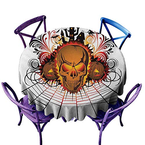 Custom Tablecloth,Halloween Angry Skull Face on Bonfire Spirits of Other World Concept Bats Spider Web Design,Table Cover for Kitchen Dinning Tabletop Decoratio,67 -