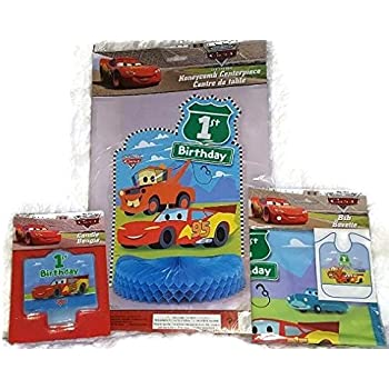 Disney Pixar CARS 1st Birthday Party Bundle Lightning McQueen Candle Bib And Centerpiece
