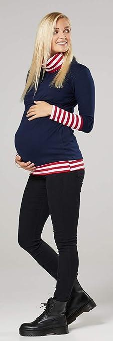 Happy Mama Boutique 348p Sudadera de maternidad con capucha cuello de contraste
