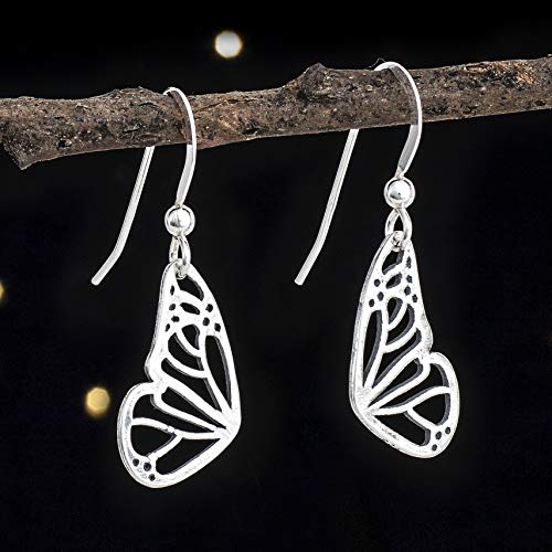 (Sterling Silver Little Butterfly Wing Earrings - Solid .925 Sterling Silver, Ready to Ship)