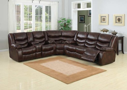 Classic brown bonded leather oversize double recliner - Sofa piel vintage ...