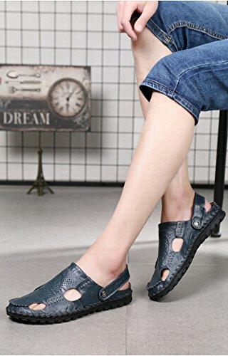 I sandali di cuoio di alta qualità selvaggia di nuovo modo di estate uomini i pistoni manuali di uso doppio di uso, blu, UK = 7, EU = 40 2/3
