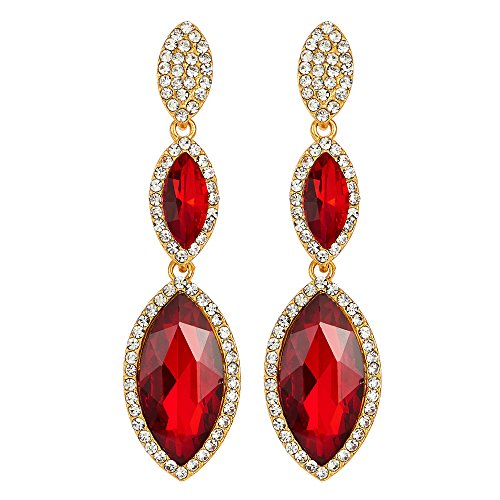 Party Prom Banquet Dress Red Marquise Crystal Navette Long Dangle Drop Gold Statement Earrings
