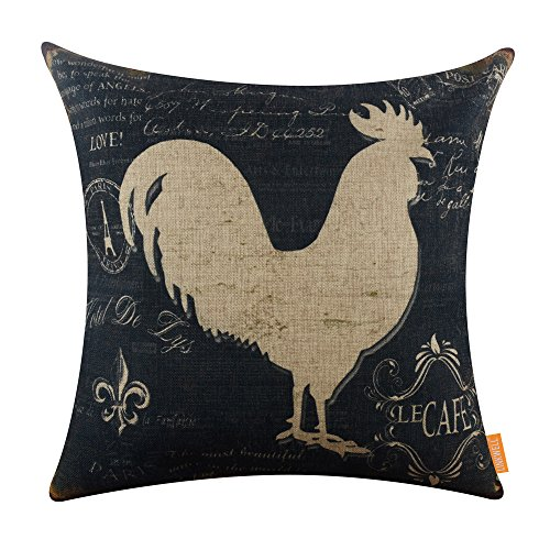 LINKWELL 18x18 inches Vintage Farm Rooster Burlap Pillowcase Cushion Cover CC1246