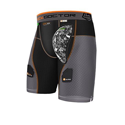 Shock Doctor Adult 375 Ultra Power Stride HK Short Hard Cup, Large, Black/Grey - Ice Hockey Compression Short