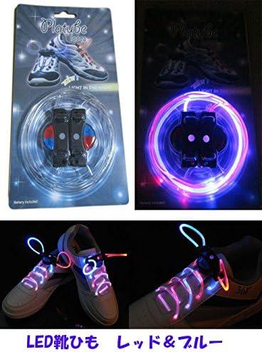 注目浴びる「LEDで光る靴ひも」選べるカラバリ 16色 点灯は 3パターン 夜間のウォーキング、犬の散歩、クラブやフェスに (レッド&ブルー)