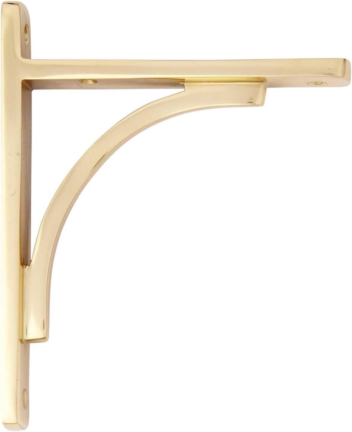 "5-1//4/"" Signature Hardware 916570-5 Classic Brass Shelf Bracket"