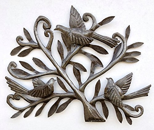 Nesting Birds, Haitian Metal Art, Tree of life, Recycled Oil Drum 19.5