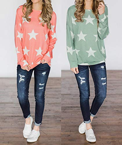 Pentacle Imprime Rose Femmes Col Chemises Shirts Sweat Hauts Longues Jumpers Manches Automne T Blouse Shirts Pullover Fashion Printemps et Casual Rond Tops Pulls nxg4q4
