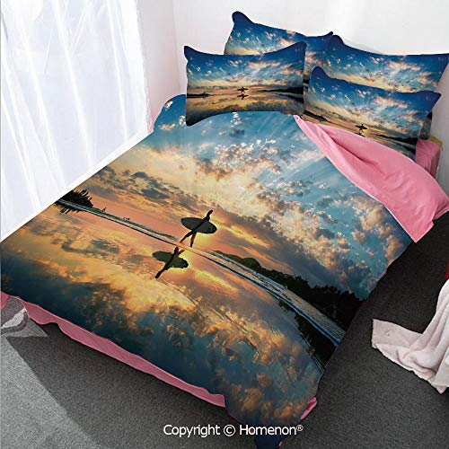 (Ride The Wave Girl's Room Duvet Cover Set Twin Size,Surfer Walking Before Horizon with Cloudy Sky Coastal Charm,Decorative 3 Piece Bedding Set with 2 Pillow Shams Violet Blue Sepia)