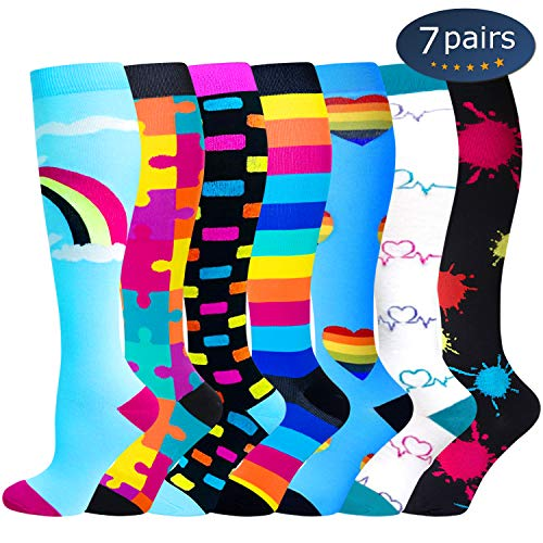 Ritta Compression Socks (2/3/4/7 Pairs),15-20 mmHg Best Athletic and Medical for Men and Women,Socks for Running, Flight, Travel, Athletic, Edema,Pregnancy,Relieve Pain (Assorted 2-7 Pairs, SM)