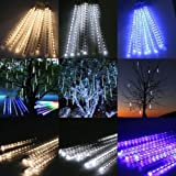 Perfect Holiday, 50cm 8 Tube 240 Leds Snowfall Meteor Rain Light Tube for Holiday Party Christmas Xmas Decoration with Us Plug Pure White