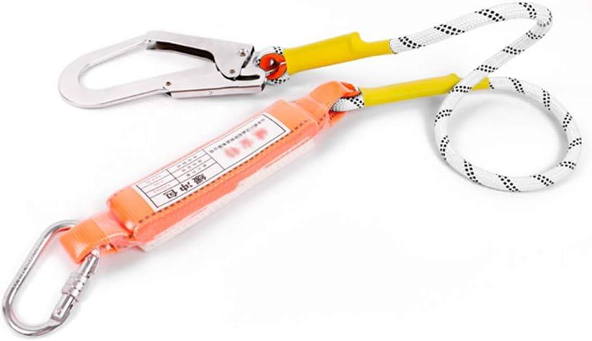 アウトドアクライミングロープバッファー接続ロープ、0タイプスチールロック付き+セルフロックフック、火災救助ロープ、ダウンヒルプロテクター 白い 3m