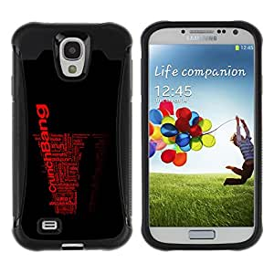 Be-Star único patrón Impacto Shock - Absorción y Anti-Arañazos Funda Carcasa Case Bumper Para SAMSUNG Galaxy S4 IV / i9500 / i9515 / i9505G / SGH-i337 ( Cool Word Art Black Red Crunch Bang )