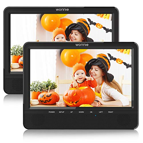 WONNIE 9.5'' Dual Screen DVD Player Portable for Car Travel Built-in 5 Hours Rechargeable Battery, Last Memory&USB&SD Slot(Two Screens Play Same Movie) (Screens 2 Player Portable Dvd)