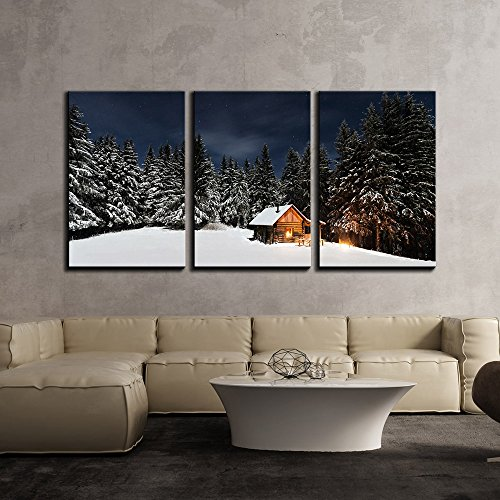 wall26 - 3 Piece Canvas Wall Art - Snow Covered Pine Tree Forest and Wood Hut in Winter - Modern Home Decor Stretched and Framed Ready to Hang - 16