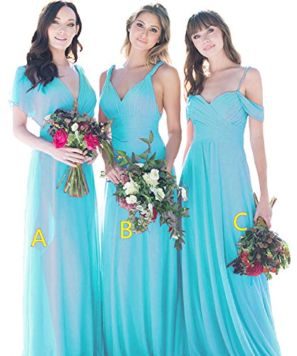 Chiffon Cdress Dress Maxi Dresses V Neck Blue Bridesmaid c Prom Party Evening Gowns Long Wedding I7zX7rxq