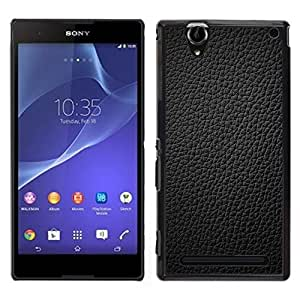 Stuss Case / Funda Carcasa protectora - Black Leather Grain Full Pattern Grey - Sony Xperia T2 Ultra