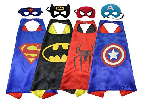 GeLivable Children's Cosplay Clothes Dress Up Costumes set,4 Satin Capes and 4 Felt Masks (Childrens Dress Up Clothes)