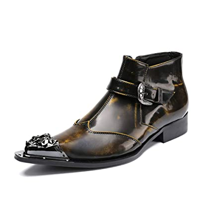 Hombres Botas De Vaquero Botines Zapatos De Cuero Clásico Marrón Vespertino Fiesta Vestido Tamaño 39-