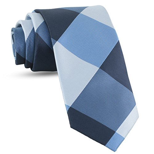 (Handmade Plaid Ties For Men Skinny Woven Navy Blue Slim Gingham Mens Ties: Thin Tie & Necktie, Stylish Neckties For Every Outfit)