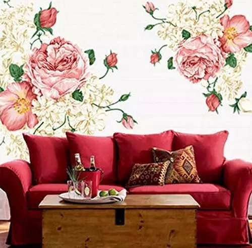 Rich Elegant Pink White Peony Wall Sticers Removable Home